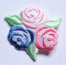 Embroidered Iron-On Applique Tri-Rose , 1+3/8 inch