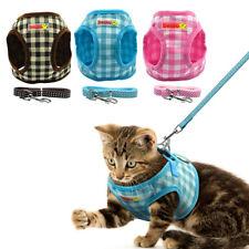Cotton Grid Cat Vest Harness with Lead Escape Proof Kitten Cat Adjustable Vest