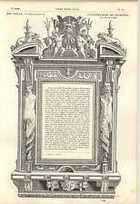 1862 Philibert de Lorme Décoration Cheminée Surround Lions Poissons Trident Nymphes Art