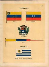 1899 Venazuela Coat Of Arms Pennant Ensign Uruguay Maritime Ship Flag PRINT