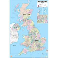 BRITISH ISLES MAP SELF-ADHESIVE WALL STICKER LAMINATED W/ DRY ERASE PEN UK DD11