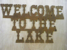 Rusted Metal Welcome to the Lake  Sign Wall Hanging FREE SHIPPING