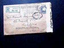 Censored Registered Cover, Chiswick to Philadelphia, 1919, Censor tape, Scarce