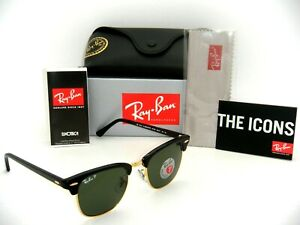 Ray-Ban Clubmaster RB3016 901/58 51mm POLARIZED Green Classic Lenses Black Frame