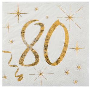 Tisch Deko Dekoration 80. Geburtstag Servietten gold weiß Metallic 25 x 25 cm