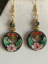`NEW ITEM- ON SALE-STUNNING HANDCRAFTED VINTAGE CLOISONNE' EARRINGS-BLACK- NEW!