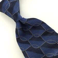 VAN HEUSEN BLACK BLUE MICRO GEOMETRIC Square Rope Link Neck Tie H1-3 Excellent