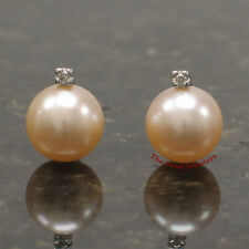 14k Solid White Gold AAA 8.5-9mm Peach Cultured Pearl Diamond Stud Earrings TPJ