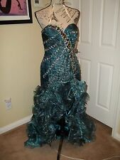 NWT PRECIOUS FORMALS PEACOCK STRAPLESS HIGH-LOW FORMAL EVENING GOWN SIZE 6