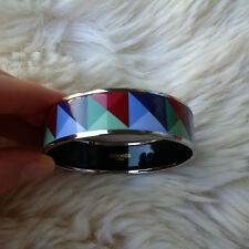 Hermes Printed Enamel Bangle Bracelet Wide Size 65 Silver - USED