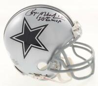 "Roger Staubach Signed Dallas Cowboys Mini Helmet Inscribed ""SBVI MVP"" (JSA COA)"
