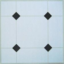 50 mattonelle di Pavimento in Vinile Autoadesivo Bianco + Nero Diamanti area MQ 4.6 unità 50