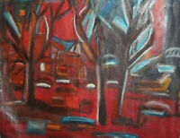 LARGE VINTAGE ABSTRACT LANDSCAPE OIL PAINTING SIGNED