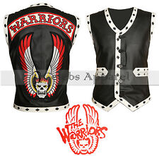 The Warriors Movie Black Biker Leather Vest Mens Halloween Costume Sale