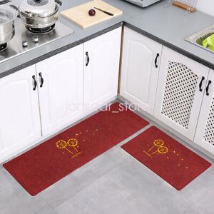 2Pcs Printing Dandelion Mat Rug Non-Slip Rubber Kitchen Bathroom Floor Doormat