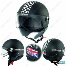 Asco Demi Jet Helmet Moto Homologado Satén Tablero UK Logo Lambretta