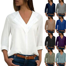 UK Womens Long Sleeve Chiffon Shirt Office Work Shirt Plain V-Neck Blouse Tops