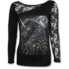 Spiral Direct DARK UNICORN Womens Long Sleeved Lace One Shoulder Top/Clothing