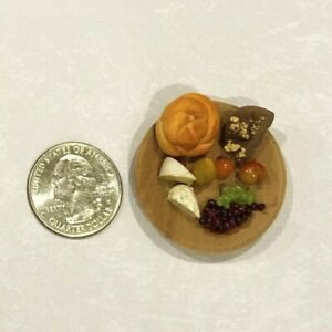 Dollhouse Miniature Artist Signed Cheese/Grapes/Fruit/Bread~Wood Tray 1:12 CUTE!