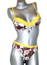 TRIUMPH Ensemble bikini - 80 B+ 40 TAI - marron jaune blanc col M003/T5 NEUF
