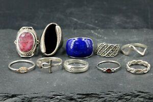 Silber Konvolut 925 Sterling Silber Ring Konvolut 10 Stk Lapislazuli Onyx uvm