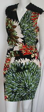 Ali Ro black orange green white Sundance print day/evening dress  NEW sz 8