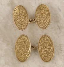 Edwardian 9ct Rose Gold Floral Patterned Oval Cufflinks
