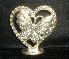 VINTAGE HEART WITH BUTTERFLY EARRING HOLDER STAND ORGANIZER VANITY DISPLAY WEAR~