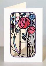 Corte Láser de Lujo Tarjeta en Blanco ~ Rennie Mackintosh Rosas