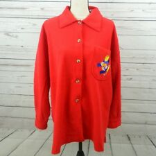 NWT The Disney Catalog Women's Size L Red Fleece Cardigan Winnie The Pooh B7