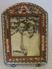 "antique Italian MICRO MOSAIC PICTURE FRAME miniature 3"" glass brass easel back"