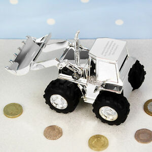 Personalised Engraved Silver Digger Tractor Money Box - Christenings, Birthdays