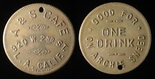 A & S CAFE / ON ARCHIE SNEED Los Angeles, California trade token K11