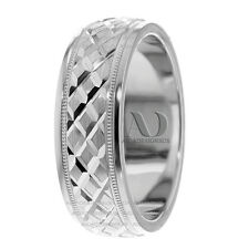 Pure 10K Gold Geometric Patterned & Milgrain Low Dome 7mm Wedding Band Ring