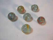6 GLASS VINTAGE MARBLES RIBBON SWIRL HAND MADE    T*