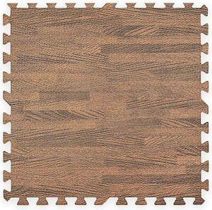 Floor Mats Foam Interlocking Wood Effect Mats Packs of 8 (610x610x10mm) Gym Yoga