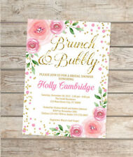 Custom Brunch And Bubbly Bridal Shower Invitation, Pink And Gold Brunch Invite