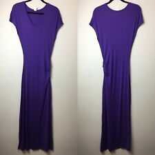 Venus Purple V-Neck Short Sleeve Ruched Fitted Maxi Dress Women's Size M W/ Slit