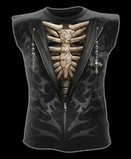 Spiral Direct Unzipped Tribal Skeleton Bones Black Sleeveless Top Vest Tshirt XL