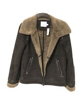 Topman Black Shearling Aviator Jacket - size L