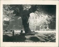 1936 Lovely Night Scene Snow & Ice Garmisch Partenkirchen Germany Press Photo