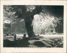 1936 Lovely Night Scene Snow & Ice Garmisch Partenkirchen Germany Press Photo