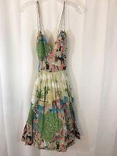 Plenty by Tracy Reese Sz 4 Bazaar Dress Village Market Full Skirt Strappy Lined