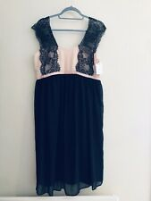 Asos Maternity Special Occasion Dress Size 14 Black Lace Pink Bnwt
