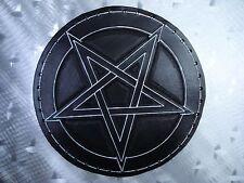 LEATHER TOOLING CARVED PENTAGRAM BACKPATCH (leatherBK01) black metal.ANTON LAVEY