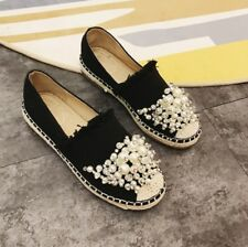 Women's Espradrilles Round Toe Pearls Slip On Flat comfy Canvas Loafers Shoes
