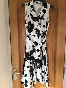 ELIZA J MONOCHROME PRINT FIFTIES STYLE BELTED DRESS UK 12 NWOT EXC CONDITION