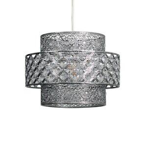 Chrome Ceiling Light Shade Easy Fit Pendant light 3 Tier Jewel Lighting LED Bulb