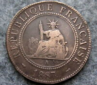FRENCH INDOCHINA 1887 A CENTIME, PARIS MINT, BRONZE