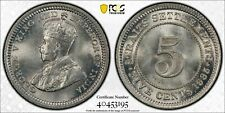 Straits Settlements George V silver 5 cents 1935 SUPERB GEM UNC PCGS MS66